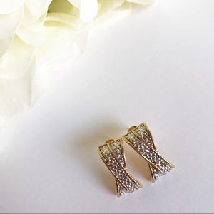 Jewelry - Gold & Silver Tone Textured X Pierced Earrings